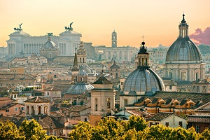 The rooftops of Rome Italy