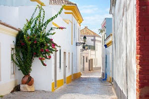 The whitewashed streets of Lisbon Portugal